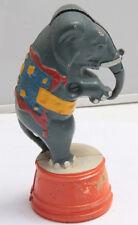 "Standing White Elephant Circus Act Blue Orange Cast Iron ~5"" Tall - USED C18K"
