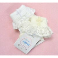 Kinder UK Made Baby Girls Christening Socks Embroidered Cross & Frilly Lace