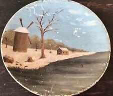 Primitive Folk Art Painting Kids Ice Skating / Sledding Primitive Farmstead