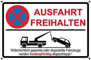 Schild AUSFAHRT FREIHALTEN Aufkleber - Parken Parkverbot Hinweisschild rot