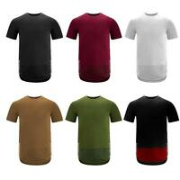 Mens QUILTED YEEZY STYLE Crew Neck longline t-shirt side zipper