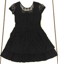 Ladies Miss Selfridge Lacy Black Flowing Short Dress Uk 12