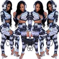 Womens Letter Floral Casual Crop Top + Bodycon Pants Set 2pcs Hoodie Club Dress