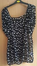 Ladies AX PARIS black sheer polka dot spotted top blouse size 12