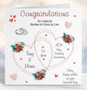 Handmade Personalised Ruby Wedding Anniversary Card all Relations