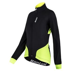 Women's Beta Cycling Windproof Jacket in Black/Yellow Made in Italy by Santini