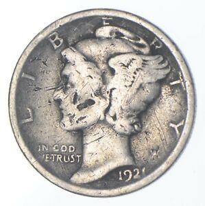 Rare - Key Date 1921-D Mercury Silver Dime - Low Mintage *307