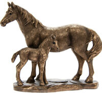 Collectable Mare & Foal Horse Ornament Reflections Bronze Resin Equine Sculpture