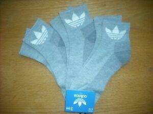 Mens NWT Adidas Quarter Ankle Socks 3prs Gray w/Large TREFOIL Logos Cushion Sz:L