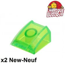 Lego - 2x Slope curved pente courbe 2x2 lip vert trans bright green 30602 NEUF