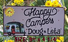 HAPPY CAMPERS SIGN TRAILER CAMPSITE CAMPING PERSONALIZED NAMES CAMPER TAN PLAQUE