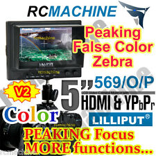 """Lilliput 5"""" 569/O/P HDMI In & Out PEAKING Monitor+Canon 5D2 5D-II LP-E6 adapter"""