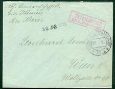 1918, Hungary Naval cover, ship 'VIRIBUS UNITIS' magenta boxed two line cxl