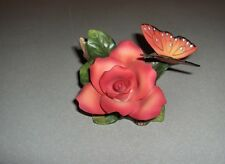 Y.H. YH 1997 Fine Porcelain China Coral Rose Butterfly Vanity NICE