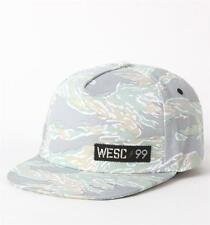WeSC  Nebe Muted Camo Gray Flat Bill Black Snapback Hat Ball Cap New NWT