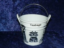 Blue Dogs Teabag tidy.Bucket shaped used teabag pot cute fun dogs all round