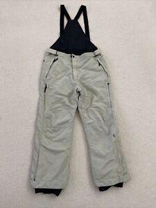 Mens Black Dot Snow Pant Bibs Beige Size XL X-large Detachable Suspenders Ski