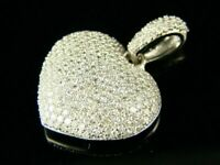 2Ct Round Cut Diamond 14K White Gold Over Puffed Heart Exclusive Pendant