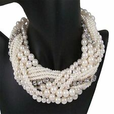 Winding Chunky Statement Rhinestone Necklace Multiple Layer Simulated Pearl