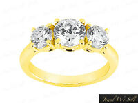 Natural 0.5ct Round Diamond 3Stone Engagement Ring 14K Yellow Gold F VS2 Prong