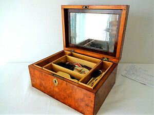 Antique Walnut Burl Sewing Box with Contents