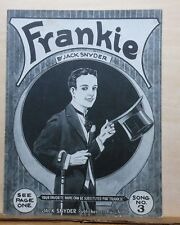 Frankie  - 1921 sheet music by Jack Snyder - man in tails tips top hat on cover
