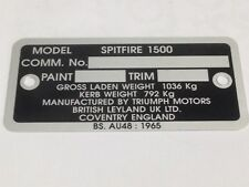 TRIUMPH SPITFIRE 1500cc CHASSIS PLATE  SPECIAL OFFER PRICE!!   TCP1010
