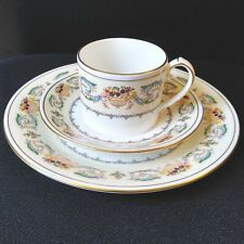 "Aynsley Banquet Trio Tea Cup Saucer & 8"" Plate Fruit Basket Blue White England"