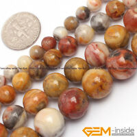 "Natural Gemstone Crazy Lace Agate Round Loose Beads For Jewelry Making 15"" YB"