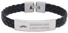 Personalised Braided Leather Bracelet  Text Moustache Engraved