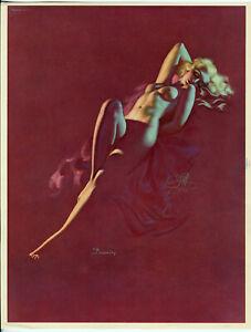 1939 Nude Earl Moran Brown & Bigelow Pin-Up Print Streamlined Blonde Dreaming