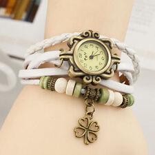 Reloj Pulsera Reino Unido Ladies Aspecto de Cuero Multicapa trébol encanto vintage blanco 8010