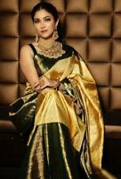 New Silk Designer Golden Printed Saree for Indian Ethnic Wedding Party wear Sari