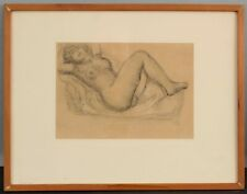 RARE Aristide Maillol French Reclining Nude Woman Lithograph of Charcoal Drawing