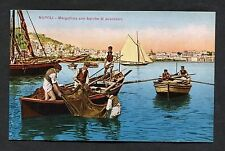 C1910 View of Fishing Boats & Men, Naples, Italy.
