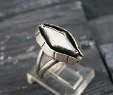 SILVER LEAF Sterling Silver 925 MOP Mother Of Pearl Shadowbox Ring Size 7