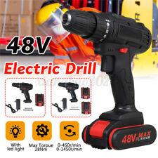 48V Cordless Drill Combi Driver Screwdriver w/ LED Worklight + Li-Ion Battery L