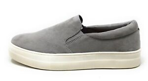 Madden Girl Womens Gemma Slip On Casual Flat Shoes Grey Suede Size 10 M US