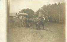 Two Men In Fancy Buggy~Large Fringed Umbrella~Team Of Horses~1911 RPPC