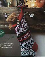 KNITTING PATTERN Fair Isle Christmas Stocking Reindeer Holly Scandi Debbie Bliss