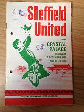 SHEFFIELD UNITED 'V' CRYSTAL PALACE 26th DEC 1968 FOOTBALL PROGRAMME