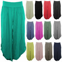 New Womens Italian Lagenlook 2 Pocket Boho Plus Size Linen Pants Baggy Trousers