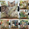 Linen Cat Play Flower Pillow Case Cushion Cover Sofa Bed Car Cafe Decor Trendy