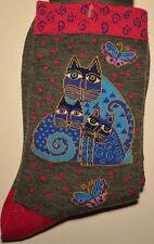 "Laurel Burch Cat Pattern Socks- ""INDIGO CATS""   Grey   #1103"