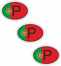 3x Oval Flag Stickers Portugal Small Country Code Laptop Smartphone Case