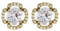 1.21 carat total Round cut Diamond Stud Earrings 14K Yellow Gold G, SI1 clarity