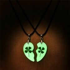 2Pcs Clover Luminous Couple Necklace Heart Shape Necklace Glowing In The Dark