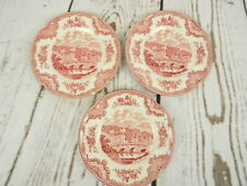 Johnson Bros Old Britain Castles Haddon Hall Set of 3 Pink Red 6.5 Inch Plates