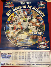 1996 BASEBALL POSTER * 30TH SEASON ATLANTA BRAVES GAME SCHEDULE Vintage