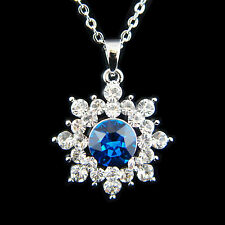 14k White Gold Plated Swarovski Crystals Snowflake Frozen Blue Pendant Necklace